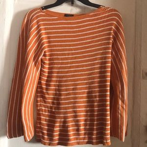 Ann Taylor mustard and white stripe shirt